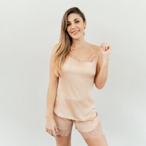 shop luxury nude satin sleepwear set nuve south africa online